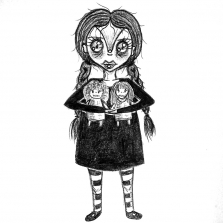 Mab's Drawlloween Club 2016 - Wednesday Addams